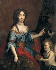 Princess Maria Anna Christina Victoria of Bavaria, Dauphine of France (1660-1690), being handed the crown of the dauphine prior to her marriage, 1679 after either François de Troy or Pierre Mignard