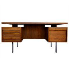 Walnut executive desk by John Keal $4000