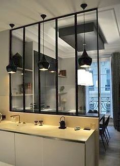 """Read More""""Kitchen- glass walls & doors to separate the kitchen from living/ dining room. Design: Windows' wall Wall of windows keeps func Small Room Design, Design Room, Deco Design, House Design, Interior Design, Kitchen Sink Window, Glass Kitchen, Kitchen Small, Kitchen Ideas"""