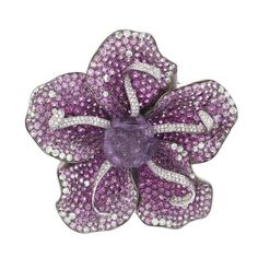 Diamond Sapphire Amethyst Gold Flower Pendant Brooch