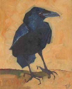 """Daily Paintworks - """"Raven On Orange"""" - Original Fine Art for Sale - © Elizabeth See"""