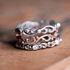 Gold stacking rings  rose gold stacking ring by StephanieMaslow