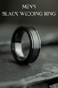 Men's all black wedding ring. Crafted out of tungsten carbide and designed with a brushed textured center and polished beveled edges. This all black wedding ring is part of the Modern Bold collection. A collection of all black wedding rings for men. #mensrings #mensweddingbands #blackweddingrings