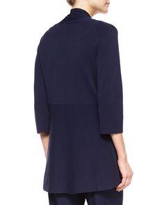 3/4-Sleeve Silk-Cotton Interlock Cardigan, Midnight