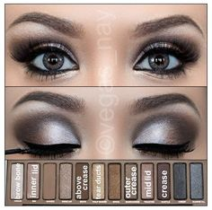 """Naked palette: 1) apply VIRGIN to browbone.  2) apply HUSTLE in crease.  3) apply SIN to inner lid, then gradually add TOASTED to mid lid. 4) go back in crease and outer """"V"""" crease and apply DARKHORSE. 5) blend out crease. 6) add BUCK above crease for warmth. 7) apply HALFBAKED to tear ducts and inner lower lash lane. 8) apply eyeliner to top line and waterline. 9) pencil in eyebrows. 10) apply mascara and fake lashes."""