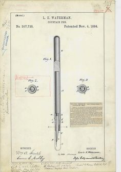 Patent Drawing for L. E. Waterman's Fountain Pen,...