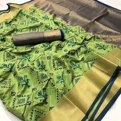 Items similar to Patola silk weaving jequard saree / parrot green saree / designer saree / saree for women / wedding saree/ indian saree/ saree blouse/ saree on Etsy Organza Saree, Art Silk Sarees, Banarasi Sarees, Sari Silk, Saree Wedding, Wedding Wear, Parrot Green Saree, Yellow Saree, Fancy Sarees