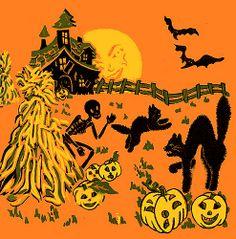 Haunted Farm Vintage Halloween Crepe Paper Napkin