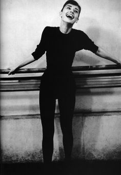 Audrey Hepburn pictured at a dance rehearsal for the movie Funny Face, 1956.