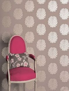 Fabric on the walls...great idea since wallpaper's such a pain!