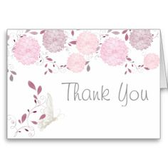 Butterflies and Pink Chrysanthemums Thank You  #butterflies #wedding #Spring #WeddingCollection #WeddingInvitations #Invitations #Floral #pink