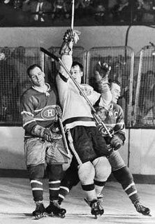 APRIL Gordie Howe, is sandwiched between Floyd (Busher) Curry, left, and Emile (Butch) Bouchard of the Montreal Canadiens in the Stanley Cup final. Detroit Hockey, Detroit Sports, Montreal Canadiens, Snowboard, Hockey Pictures, Surf, Red Wings Hockey, Wayne Gretzky, Sports Picks