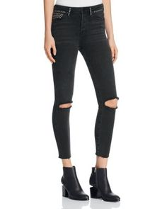 Free People Vintage Stretch Studded Skinny Jeans in Black | bloomingdales.com
