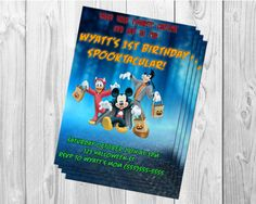 MICKEY MOUSE HALLOWEEN birthday party invitations by BBNGRAFX