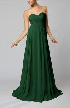 Hunter Green Guest Dress - Simple Sheath Sweetheart Zip up Sweep Train Ruching Wedding