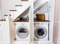 17 Clever Uses for the Space Under the Stairs Washer and Dryer Under Stairs Kitchen Under Stairs, Space Under Stairs, Bathroom Under Stairs, Basement Bathroom, Staircase Storage, Staircase Design, Modern Staircase, Built In Bookcase, Bookcase Door