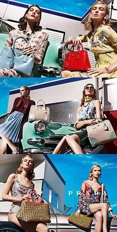 Spring 2012 Prada. Models: Elise Crombez, Ymre Stiekema, Katryn Kruger, Meghan Collison, Natasha Poly, and Guinevere van Seenus. Photographer: Steven Meisel.