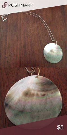 """Pearl shell necklace Polished abalone shell pendant is 1.75"""" across, on an 18"""" silver chain. It's actually etched with my monogram """"SBW"""" but all the black has rubbed off of it so you can't really see it anymore. I know it's a weird thing to sell on PM but I thought I'd give it a try! Jewelry Necklaces"""