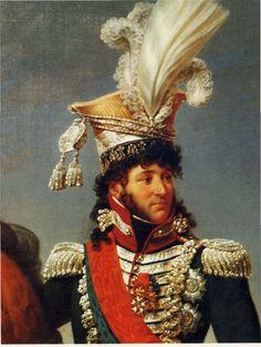 MURAT Joachim, né le 25 mars 1767 à Labastide-Fortunière (de nos jours Labastide-Murat), dans le département du Lot — et mort le 13 octobre 1815 à Pizzo, dans le royaume de Naples, est un maréchal d'Empire français, de 1806 à 1808 grand-duc de Berg et de Clèves, prince français et roi de Naples de 1808 à 1815.