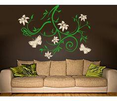 Butterfly Wall Decals - Sky Bough vines and butterflies wall decal, sticker, mural, vinyl wall art
