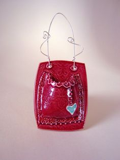 Ceramic Wall Pocket Vase  Cherry Red with Love by CeriWhiteStudios, £22.00