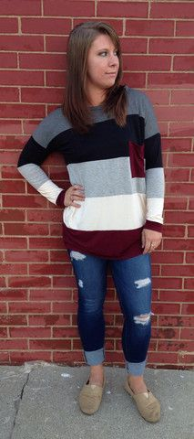 Red Color Block top – The Pulse Boutique