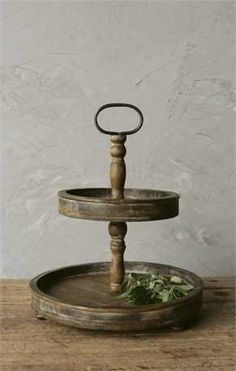 Two-Tier Rustic Wood Tray –  http://vintage23market.com/collections/farmhouse-kitchen/products/two-tier-rustic-wood-tray