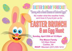 Easter Invitation Humorous Easter Brunch & Egg by FabPartyPrints Easter Invitations, Dinner Party Invitations,