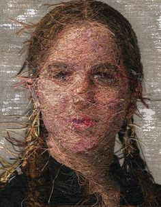 Amazing embroidered portraits by Cayce Zavaglia. Here  is the fascinating opposite side of the image. The back is art too.