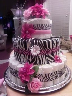 Hot Pink Zebra Diaper Cake - Made one almost just like this for a shower last year!
