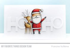 Handmade card from Francine Vuilleme featuring Santa & Friends stamp set & Die-namics Dyi Christmas Cards, Chrismas Cards, Holiday Cards, Christmas Ideas, Mft Stamps, Winter Cards, Card Making Inspiration, Greeting Cards Handmade, Cardmaking
