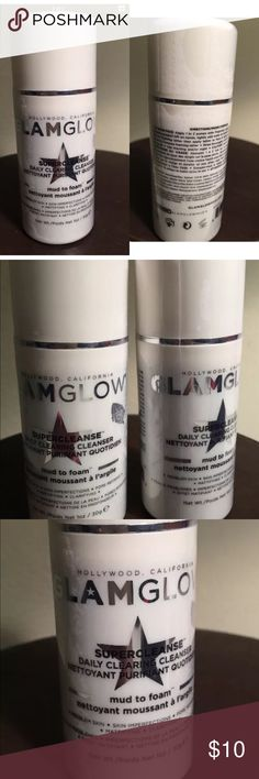 Glamglow supercleanse daily clearing cleanser Glamglow supercleanse daily clearing cleanser mud to foam 1 oz.daily cleanser that combines mud and gentle foaming cleansing to dissolve oil & makeup. Rinses away pore-clogging debris, impurities and excess oil. Brand new sealed. 1 oz bottles. Directions on bottlefor men & women... glamglow Other