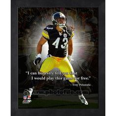 Troy Polamalu Pittsburgh Steelers Pro Quotes Photo (Size: x Framed Pittsburgh Steelers Pictures, Pittsburgh Steelers Football, Pittsburgh Sports, Football Team, Football Fever, Watch Football, Here We Go Steelers, Steelers Stuff, Troy Polamalu