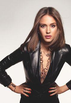 Jessica Alba rocking black leather