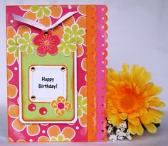 Homemade birthday card using bought die cut shapes with step-by-step instructions. You can make this card.
