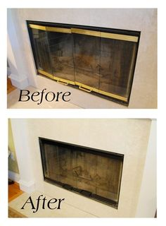 Like It Hot Tutorial for painting the brass exterior surround of a fireplace with high heat paint.Tutorial for painting the brass exterior surround of a fireplace with high heat paint. Fireplace Doors, Fireplace Update, Fireplace Remodel, Painting Fireplace, Fireplace Cover, Brass Fireplace Makeover, Fireplace Ideas, Fireplace Trim, Painted Fireplace Mantels