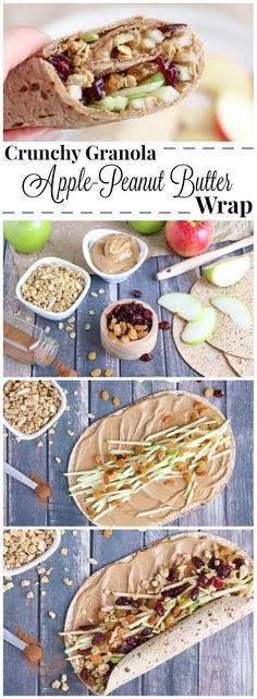 Full of protein, whole grains and fruits, this wrap recipe is fast, easy and so wonderfully adaptable! Our crunchy Peanut Butter Sandwich Wraps are perfect for on-the-go meals and make-ahead lunches (you can even go nut-free for school lunches)! Change up your peanut butter and jelly routine with this new peanut butter recipe idea that's got a delicious combination of sweet, crunchy, chewy and creamy ingredients your whole family will love! {ad} | www.TwoHealthyKitchens.com Lunch Snacks, Healthy Snacks, Healthy Eating, Healthy Recipes, Fruit Snacks, Healthy Lunch Wraps, Vegan Snacks On The Go, Apple Snacks, Snacks