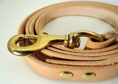 Natural VegTan Leather Dog Leash with Brass by DavisLeather, $22.00