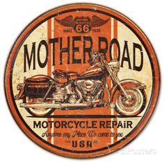 Mother Road Motorcycle Repair Placa de lata