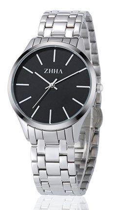 ZHHA Women's Watches 027 Quartz Black Dial Silver Stainless Steel Bracelet Wrist Watch Waterproof