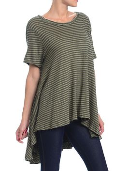 NEW WE THE FREE PEOPLE CIRCLE IN THE SAND TOP TEE SHIRT STRIPED BOHO M / L $88 #FreePeople #oversized #Casual