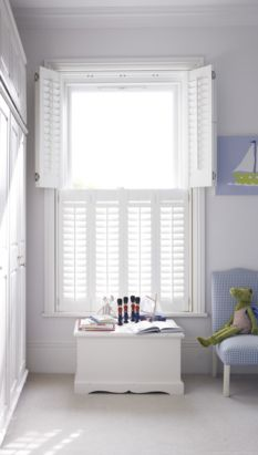 Tier-on-tier shutters strike the perfect balance between privacy and light control. The top and bottom sections open independently, so you can maintain your privacy at eye level but open the top tier to let in lots of lovely light at the same time. Childrens Blinds, Nursery Blinds, Kids Bedroom, Bedroom Ideas, White Shutters, Privacy Blinds, Shutter Blinds, Roman Blinds, Summer Sale