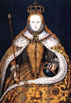 'The Coronation Portrait' (of Elizabeth I of England) (c.1600, copy of 1559 lost original). Artist unknown, though   previously attributed to William Stretes.  collection: National Portrait Gallery. via luminarium