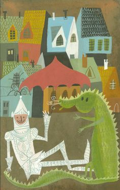 Sir Henry always enjoyed the company of a friendly dragon.  Limited edition 11x14 print by Matte Stephens.
