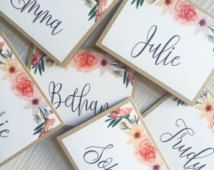 Personalized Name wedding place setting cards/escort cards - tented or flat guest seating cards - Rustic wedding place card