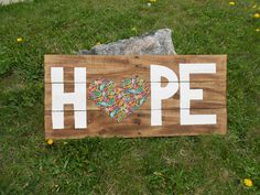 Hope with a heart recycled pallet sign. $30.00, via Etsy.