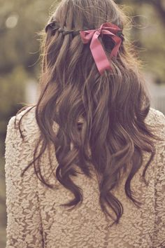 Waterfall braid and red bow  Thanks for the new follow. Keep current, informed, trendy-https://www.facebook.com/WhitesandsSecretGarden