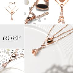 ROXI Exquisite fashion hollow rose necklace Eiffel Tower & Heart Pendant Necklace fashion gift Austrian crystal double set jewelry