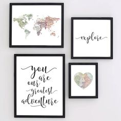 Printable  Gallery Travel Nursery Wall Art Set Map World