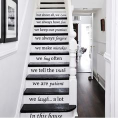 Decal House In This House We Do Stairway Decal Color: Sky Blue